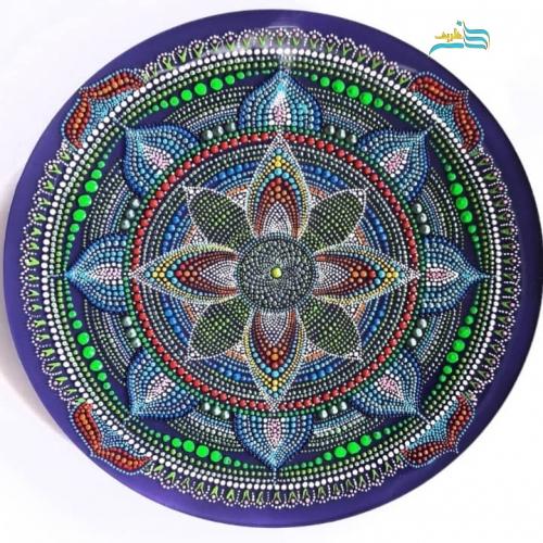 بشقاب شیشه ایی نقطه کوبی دیوارکوب گلبرک
