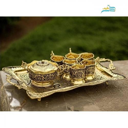سماور برنجی روکش طلا سیاه قلم