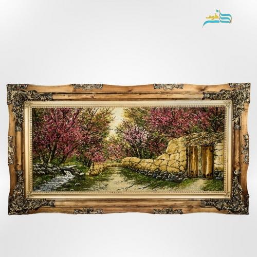 تابلو فرش دستباف طرح کوچه باغ شکوفه