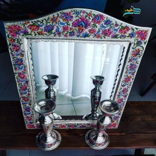 آینه و شمعدان قلمزنی برنجی روکش نقره