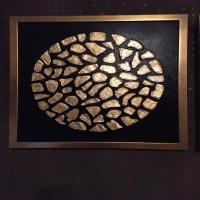 تابلو نقاشی دکوراتیو ورق طلا : قلوه سنگ