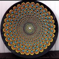 بشقاب شیشه ایی نقطه کوبی دیوارکوب  فیروزه