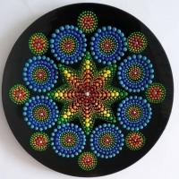 بشقاب شیشه ایی نقطه کوبی دیوارکوب  1.ستاره های آبی