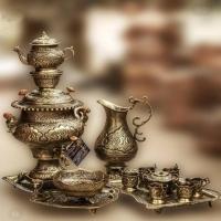 سرویس سماور 4 لیتری برنجی و چایخوری